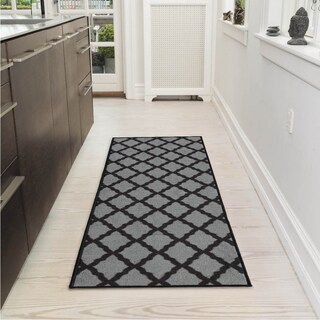 "Ottomanson Pink Collection Moroccan Trellis with Non-Slip Rubber backing Area Rug (20 inches x 59 inches) - 2' x 5'/1'8"" x 4'11"" (3 options available)"