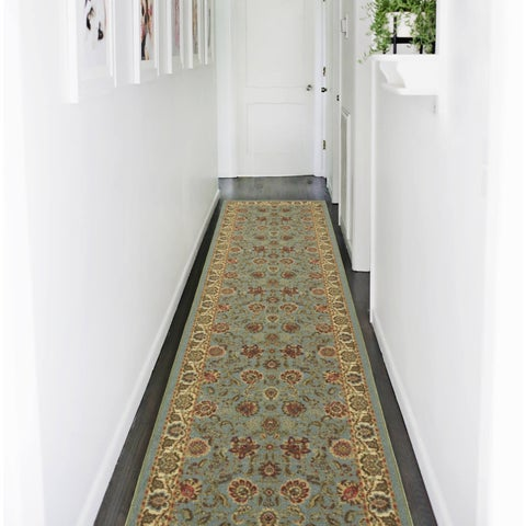 "Ottomanson Otto Home Persian Style Oriental Modern Design Sage Green/ Aqua Blue Runner Rug - 2'7"" x 10'"