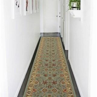Ottomanson Otto Home Persian Style Oriental Modern Design Sage Green/ Aqua Blue Runner Rug (2'7 x 10')