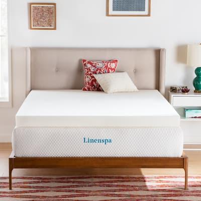 Linenspa Essentials 4 Inch ActiveRelief™ Memory Foam Mattress Topper - White