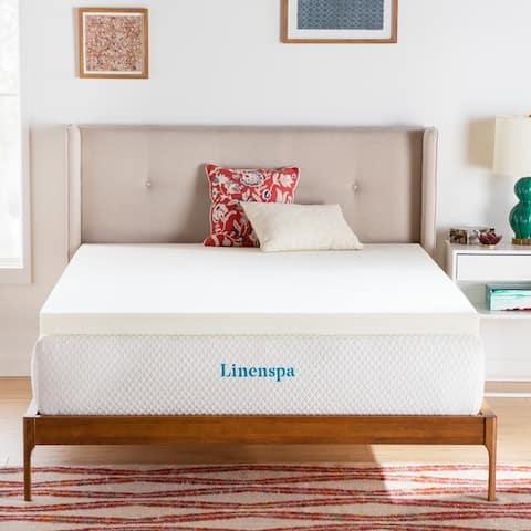 Linenspa Essentials 3 Inch ActiveRelief Memory Foam Mattress Topper - White
