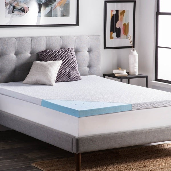lucid ventilated 2 5 inch gel memory foam mattress topper with removable cover free shipping. Black Bedroom Furniture Sets. Home Design Ideas