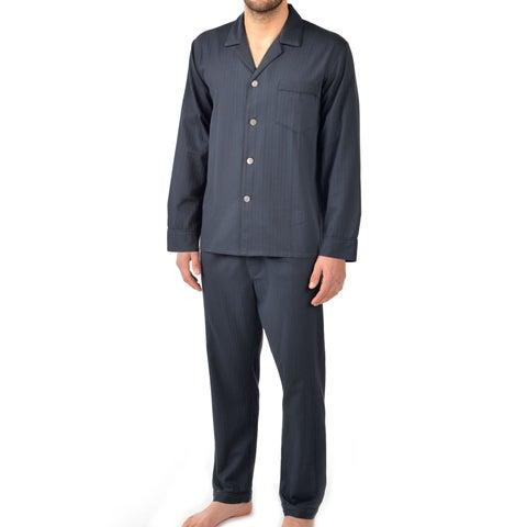 Majestic Men's Signature Herringbone Long Sleeve Cotton Pajama Set