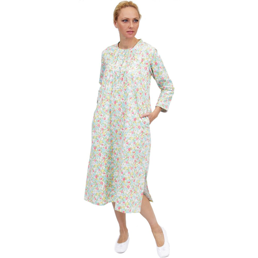 La Cera Womens Long-Sleeve Floral Printed Nightgown