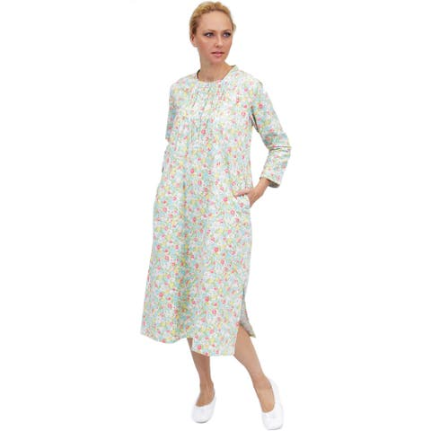 La Cera Women's Long-Sleeve Floral Printed Nightgown