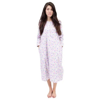 La Cera Women's Long-Sleeve Floral Printed Nightgown (More options available)