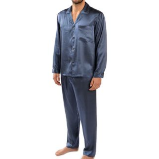 Majestic Men's Cypress Silk Charmeuse Long Sleeve Pajama Set
