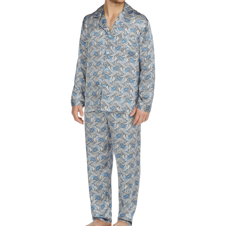 Majestic Cypress Men's Silk Charmeuse Long Sleeve Pajama ...