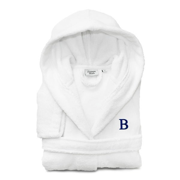 Sweet Kids White with Royal Blue Monogram Turkish Cotton Hooded Terry Bathrobe