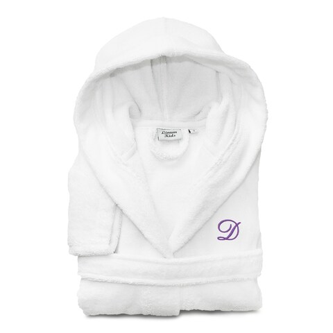 Sweet Kids White with Lavender Monogram Turkish Cotton Hooded Terry Bathrobe