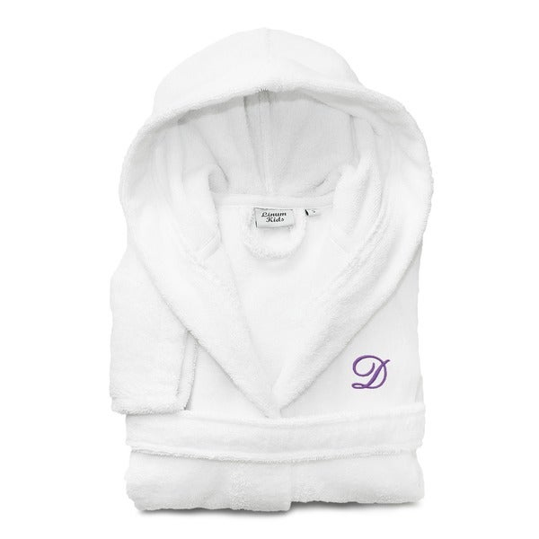 Sweet Kids White with Lavender Monogram Turkish Cotton Hooded Terry Bathrobe