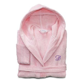 Sweet Kids Pretty Pink with Lavender Monogram Turkish Cotton Hooded Terry Bathrobe|https://ak1.ostkcdn.com/images/products/10868176/P17906029.jpg?impolicy=medium
