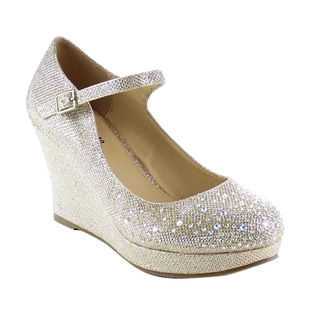 Beston BB28 Women's Sparkling Bling Ankle Strap Wedges