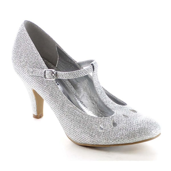 Beston BB23 Women's T-strap Cut Out Glitter Pumps