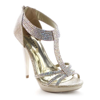Beston BA16 Women Back Zipper Stiletto Heel Strappy Glitter Sandal