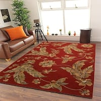 "LR Home Integrity Red Traditional Jacobean Area Rug ( 8'9"" x 11'9"" ) - 8'9 x 11'9"