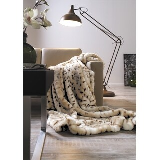 IBENA Luxury Leopard Faux Fur Throw Blanket