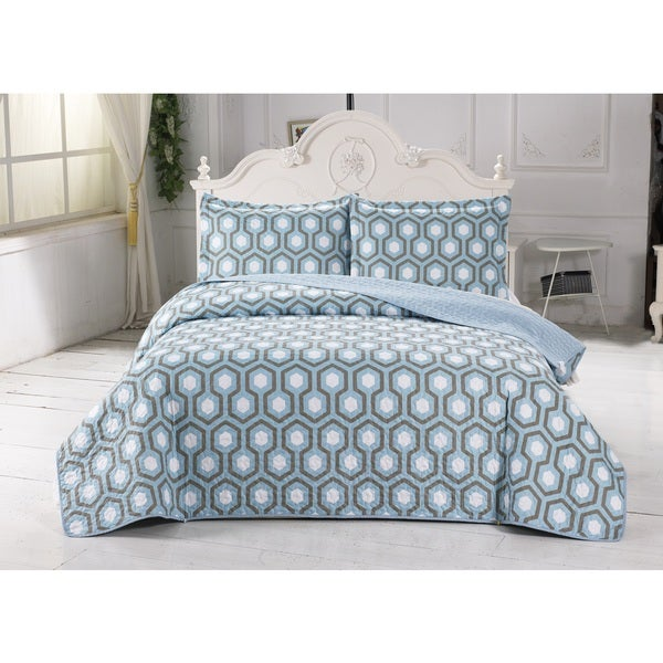 Home Fashion Designs Turner Collection 3-Piece Printed Quilt Set with Shams