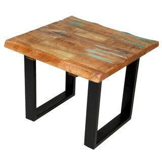 Handmade Wanderloot Reclaimed Hardwood Square End Table (India)