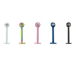Supreme Jewelry Titanium Labret with Disco Crystal Stones (Pack of 5)
