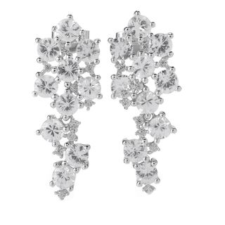 Sterling Silver White Zircon Drop Earrings