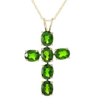 14k Yellow Gold Gemstone Cross Pendant