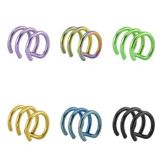Supreme Jewelry 14g Cartilage 'clip-on' Triple Ring (6-pack )