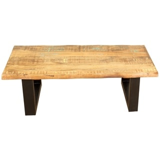 Handmade Wanderloot Reclaimed Solid Hardwood Rectangle Cocktail Table With  Architectural Metal Legs (India)
