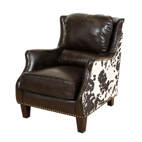 """Porter Wrangler Espresso and Cow Print Bonded Leather Accent Chair - 36""""H x 32""""D x 29""""W"""