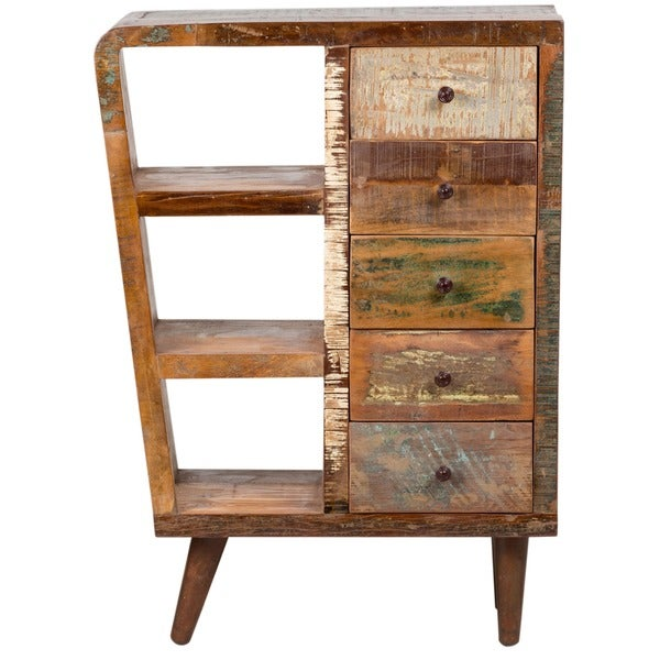 Handmade Wanderloot Route 66 Reclaimed Wood Mid Century Modern Sideboard  Bookshelf 5 Drawer Cabinet