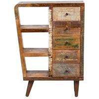 Handmade Wanderloot Route 66 Reclaimed Wood Mid-century Modern Sideboard Bookshelf 5-drawer Cabinet (India)