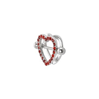 Supreme Jewelry Silver and Red Stone Heart Nipple Shield