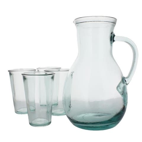 French Home Recycled Glass Urban Pitcher and 4 Tumblers