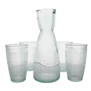 French Home Recycled Glass Clear Decanter and 4 Tumblers