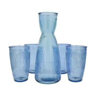 French Home Recycled Glass Sapphire Blue Decanter and 4 Tumblers