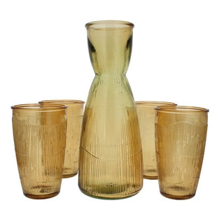 French Home Recycled Glass Caramel Decanter and 4 Tumblers