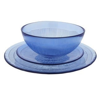 French Home Recycled Glass Sapphire Blue Dinner Set