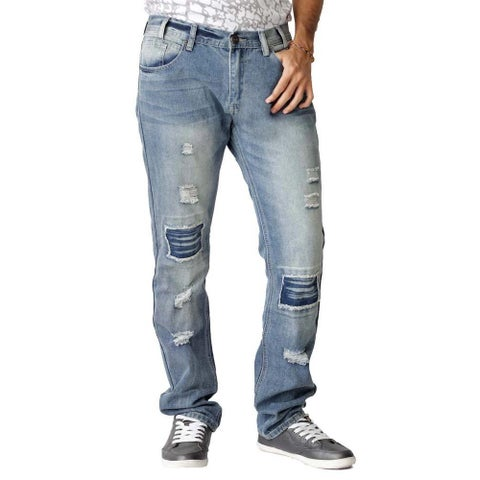 The United Freedom Men's Patchwork Rip Slim Fit Jeans