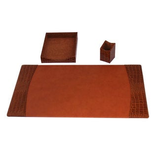 Protacini Italian Patent Leather 3-Piece Desk Set