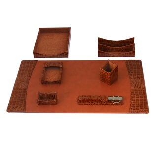Protacini Italian Patent Leather 7-Piece Desk Set