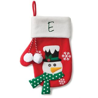 Snowman Personalized Red Mitten Stocking