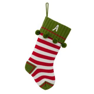Red Striped Personalized Knit Stocking