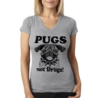 Women's Pugs Not Drugs GREY Funny V-neck Grey Cotton T-shirt