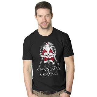 Men's Christmas Is Coming Santa on Throne Holiday Black Cotton T-shirt