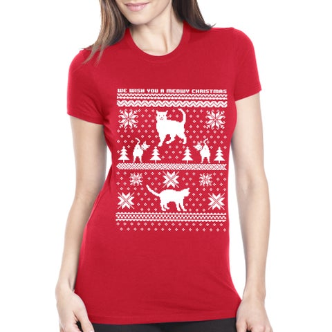 Women's 8-bit Cat Butt Christmas Ugly Sweater Red Cotton T-shirt
