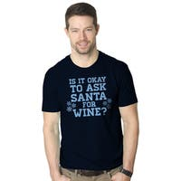 Men's Ask Santa For Wine Shirt Funny Christmas Navy Cotton T-shirt