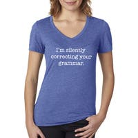 Women's Silently Correcting Your Grammar English V-neck Blue Cotton T-shirt
