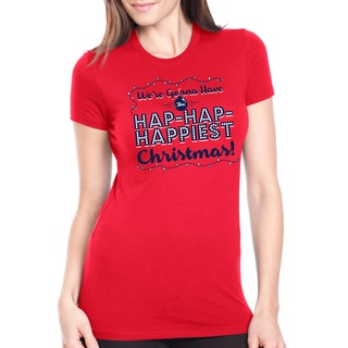 Women's Hap Hap Happiest Christmas Holiday Lights Red Cotton T-shirt