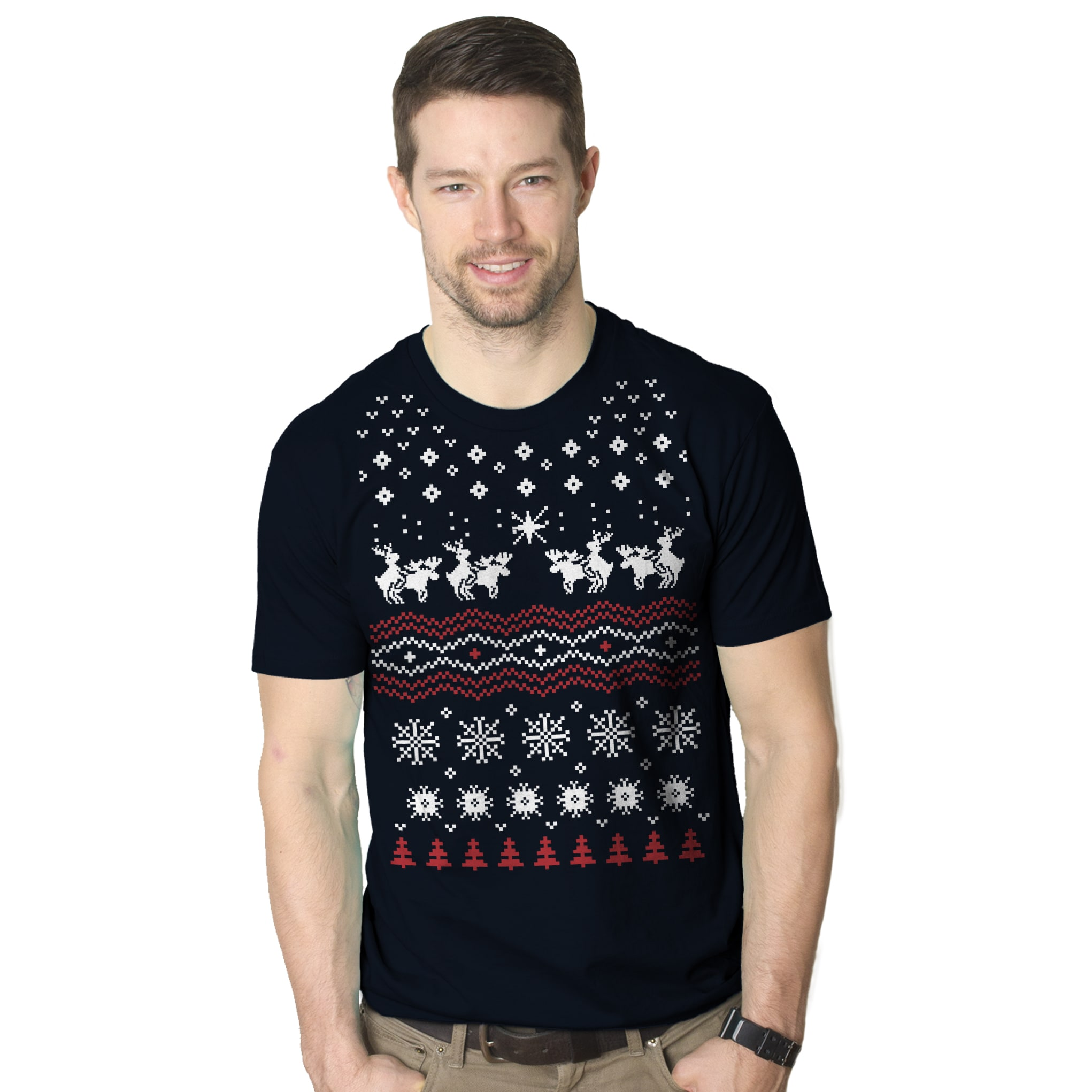 Humping Moose Funny Ugly Christmas Sweater Holiday Navy Cotton T-shirt (XXL)