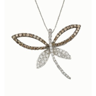 Kabella 14k White Gold 1 1/3ct TDW Diamond Butterfly Pendant Necklace